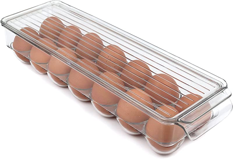 Greenco Stackable Refrigerator Egg Storage Bin With Lid Stores 14 Eggs Clear