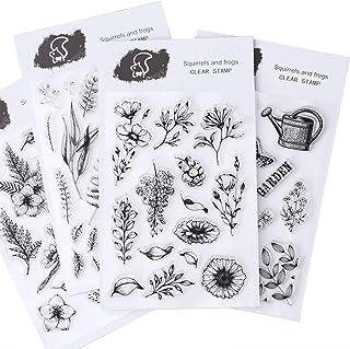 CAILI 4 Set Transparente �lbum de �lbumes de Recortes �lbum de Sellos de Silicona Transparente Sellos de Plantas y Para DIY Postales de Recortes Decoración