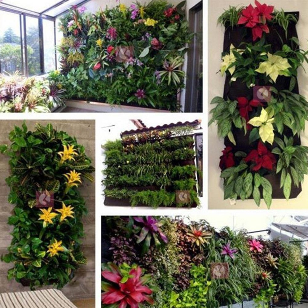 Yuccer Bolsa Vertical Colgante, 9 Bolsillos Decoración Jardín de Hierbas Planta Pared Interior Exterior (Negro): Amazon.es: Jardín