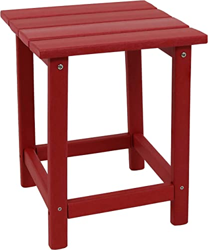 high quality Sunnydaze All-Weather Red Outdoor Side Table - Modern Square Adirondack Side Table - Stylish online Patio Furniture Accessory - Perfect for Yard, Patio, Garden and high quality Poolside outlet online sale