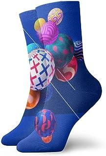 Calcetines deportivos deportivos para hombre, para mujer, balones multicolores, calcetines de poliéster coloridos divertidos y abstractos, 30 cm