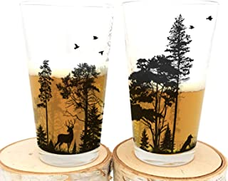 Pint Glasses - Forest and Animals - Set of Two Screen Printed Pint Glasses