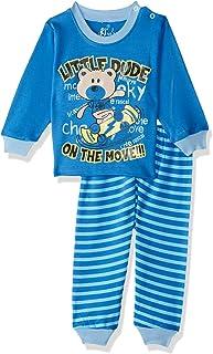 Jockey Bear Print Long Sleeves Round Neck Sweatshirt with Striped Pants Pajama Set for Boys - Blue, 18 - 24 Months