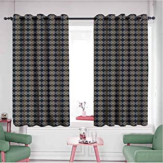 HCCJLCKS Custom Curtain Pattern with Interlacing Lines Knots Modern Twisted Tangled Design Decor Curtains by Dark Blue Marigold White W55 x L63