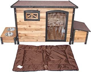 PETJOINT Large Wooden Dog House + Storage Box + Food Bowls + Waterproof Mattress | Wood Pet Puppy Kennel Timber Home Indoo...