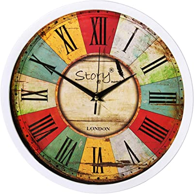 Story@Home 12-inch Vintage Collection Round Shape Plastic Wall Clock (30 cm x 30 cm x 1.5 cm)