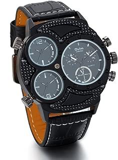 JewelryWe Mens Oversize 3 Time Zone Military Sport Watch Leather Quartz Wristwatch - Black