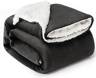 comprar comparacion Bedsure Manta Reversible de Franela/Sherpa 150x200cm - Manta para Cama 90 de 100% Microfibra Extra Suave - Manta de Felpa ...