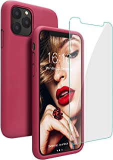 Case for iPhone 11 Pro, JASBON Soft Rubber Silicone Full Body Protection Shockproof Phone Cover Cases with Screen Protector for iPhone 11 Pro 5.8 inch 2019(Rose Red)