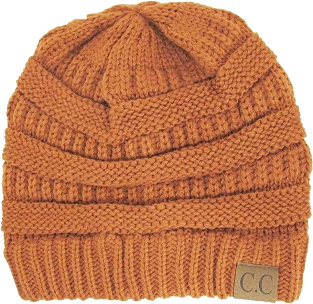 Luxury Divas Charcoal Thick Slouchy Knit Oversized Beanie Cap Hat,One Size,Rust