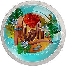 Lade knoppen ronde Crystal glazen kast handgrepen Pull 4 Pcs,bloem Hawaiian Aloha