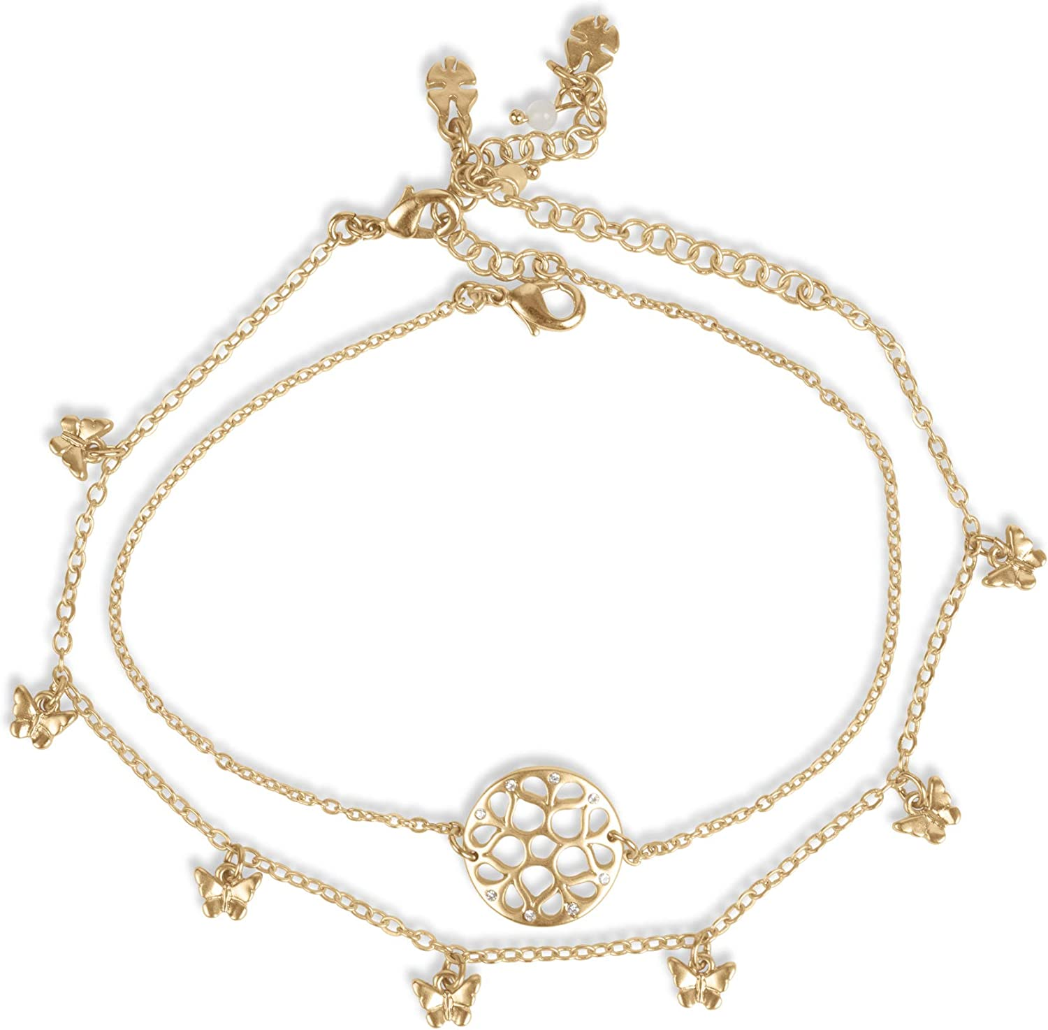 Lucky Brand Butterfly Openwork Anklet Set, Gold