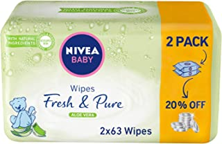 NIVEA, Baby, Wipes, Fresh & Pure, 2 x 63 Wipes