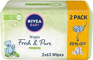 NIVEA, Baby, Wipes, Fresh & Pure, 2 x 63 Wipes