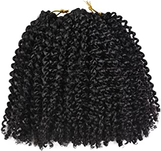 8Inch Marelybob Kinky Curly Crochet Braids Twist Hair 24Strands Afro Curly Weave Braiding Hair Synthetic Hair Extensions (8inch, 1B)