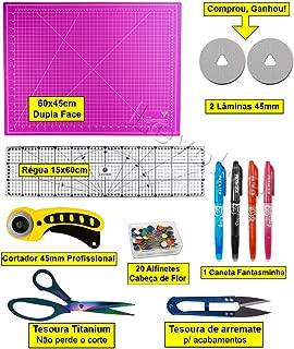 Kit Base De Corte 60x45 + Regua 15x60 + Cortador 45mm + Tesouras