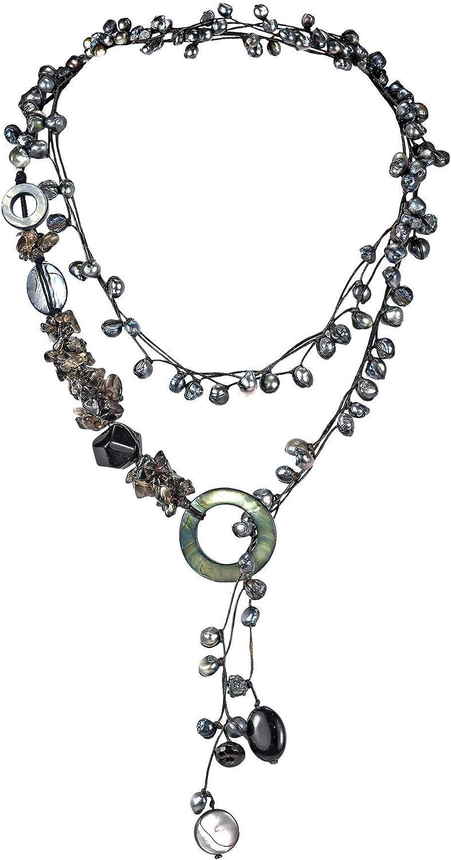 Pretty Black Pearl-Onyx-MOP Long Wrap Around Multi-Wear Necklace