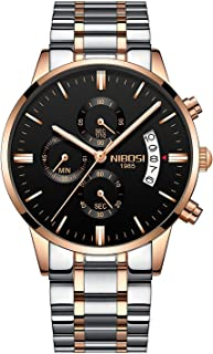 NIBOSI Men's Watches Luxury Sports Chronograph Waterproof Military Quartz Rose Gold Stainless Steel Wristwatches Black Color