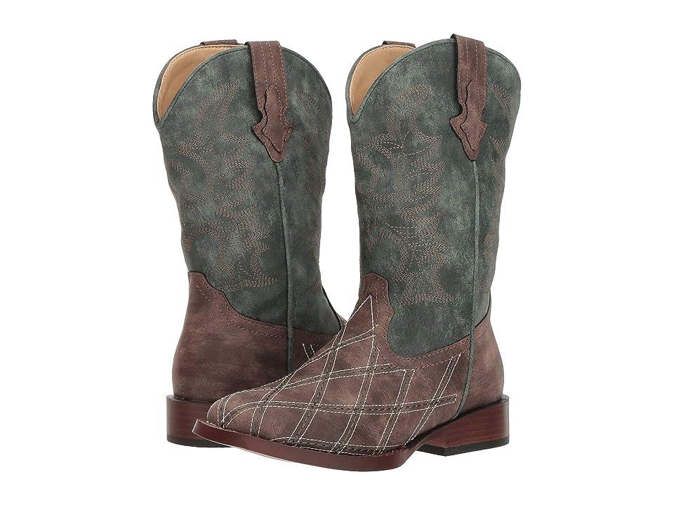 Roper Kids Crosscut (Toddler/Little Kid) (Diamond Checkered Brown Vamp/Green Shaft) Cowboy Boots