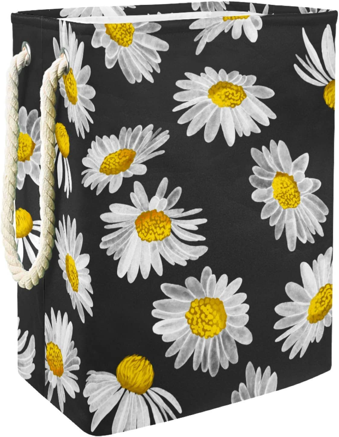 National uniform free shipping Inhomer Laundry Hamper Decorative Collapsible Daisies Mail order cheap Background