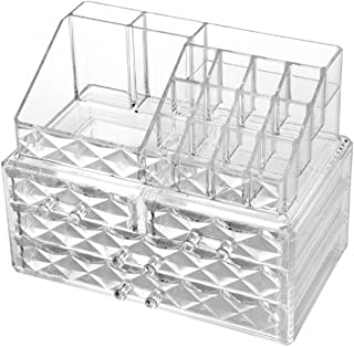 AUSELECT Cosmetic Makeup & Jewelry Organiser Clear Acrylic 20 Section Transparent Black Dressing Table Holder Stackable or...