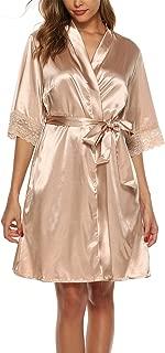 Women's Satin Silk Bathrobe Oblique V-Neck Short Lace Trim Kimono Robe Nightgown Sleepwear Satin Short Robe S-XXL