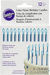Wilton Blue Color Flame Candles, 12 Count