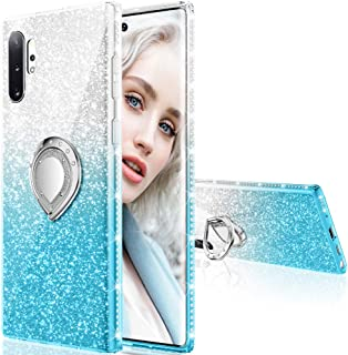 Maxdara Case for Galaxy Note 10 Plus Case Glitter Ring Kickstand Case for Gilrs Women with Bling Sparkle Diamond Rhinestone Holder Protective Pretty Case for Galaxy Note 10 Plus turquoise