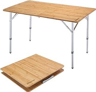 comprar comparacion KingCamp Mesa Plegable de bambú Altura Ajustable con Revestimiento Anti-UV para 4 a 6 Personas (Escritorio 120 × 80 cm, 12...