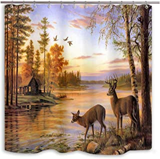 DYNH Elk Shower Curtain Animals Theme, Deer Safair in Stream River at Forest Sunset Shower Curtain, Fabric Bathroom Decor Accessories, Bath Curtains 12 PCS Hooks, 69X70 in