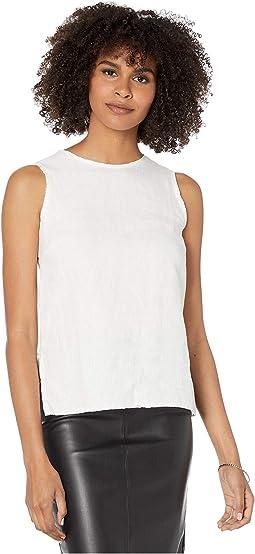 Linen Sleeveless Zip Back Tank Top