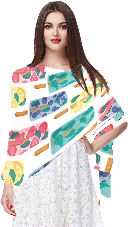 Chiffon Scarf for Women Fashion Soft Hijab Long Scarf Wrap Scarves,Fruit Ice Cream