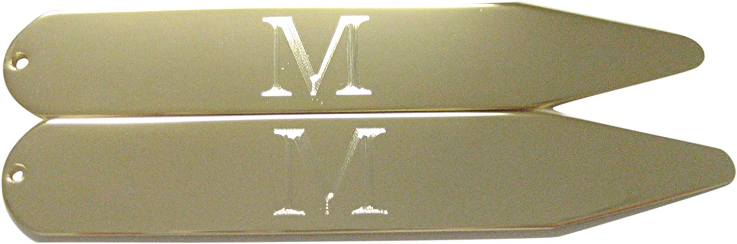 Gold Toned Etched Letter M Monogram Collar Stays