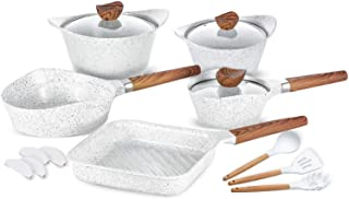 Nonstick Cookware Set Dishwasher Safe 100% PFOA Free Aluminum Induction Pots and Pans Set with Cooking Utensils- 15 - Piece - White