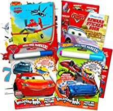 Disney Cars and Hot Wheels Magic Ink Coloring Book Set Kids Toddlers -- 2 Imagine Ink Coloring Books with Invisible Ink Pens, 50 Planes Temporary Tattoos and over 100 Cars Stickers