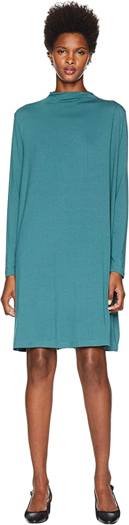 Lightweight Viscose Jersey Mock Neck Dress with Shoulder Pleat