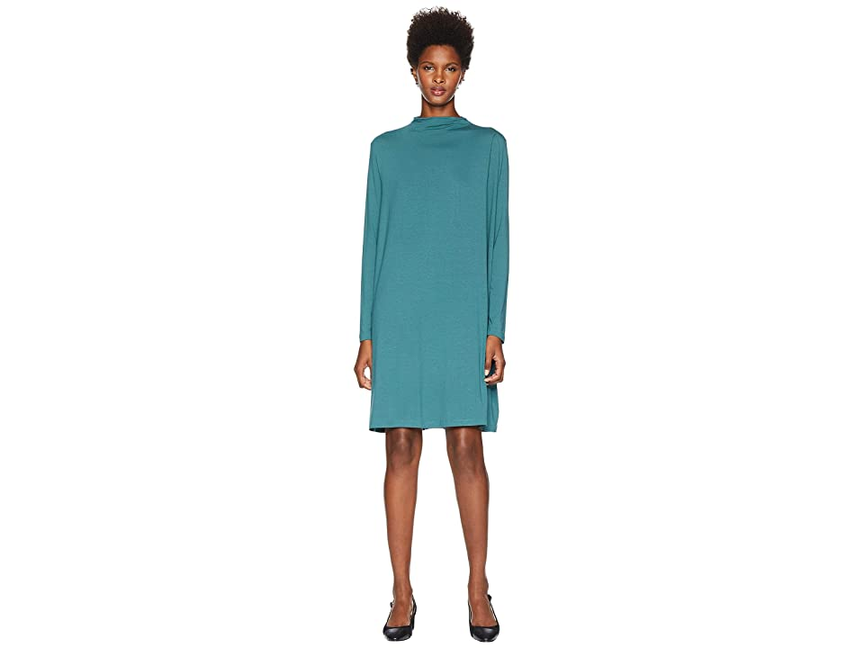 Eileen Fisher Lightweight Viscose Jersey Mock Neck Dress with Shoulder Pleat (Dragonfly) Women
