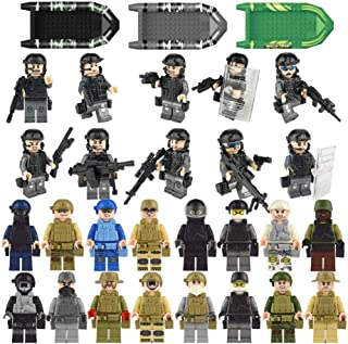 Army Block Set Building Military Toys Little People bricks SWAT Kids Toy City Police Minifigures Team Soldiers Figures Bulk Assembling with Accessories Weapons Canoeing Party Favors