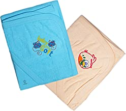 Sathiyas Akash 100% Cotton Embroidered Baby Towels - Pack of 2 (Blue || Cream)