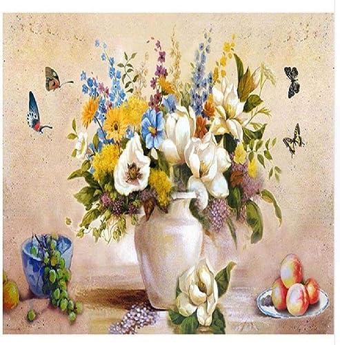 Peintures Par Numéros Papillon Et Beaucoup De Fleurs 80X100Cm Bricolage Peinture à L'Huile Linen Toile Pour Adultes Les Enfants Débutants Des Gamins' Jouet Numéros Peinture Par Décoration Murale