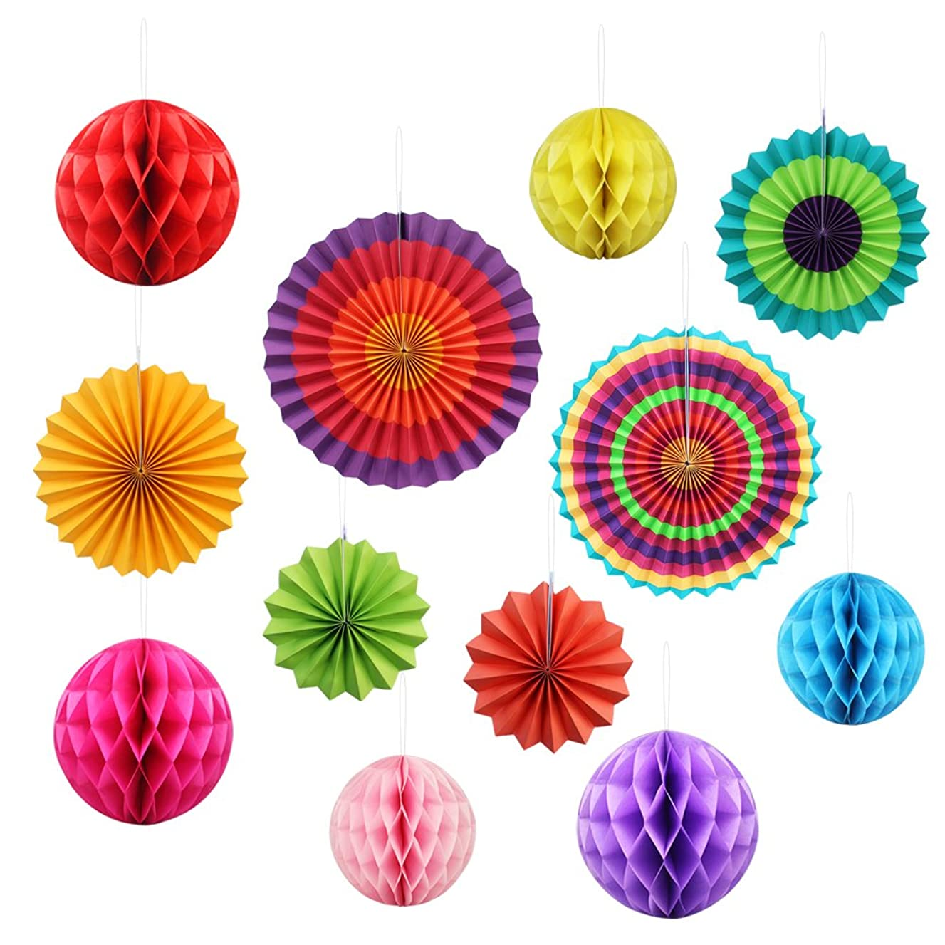 Fiesta Paper Fan Decoration Supplies,Yotako 6Pcs Round Wheel Tissue Paper Fan + 6Pcs Hanging Paper Honeycomb Balls?Lantern for Christmas Wedding Party Baby Shower First Birthday Wall Decor