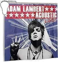 Kaihngl Adam Lambert Acoustic Live Shower Curtain with 12 Rustproof Hooks, Waterproof Shower Curtain, 72x72 Inch Durable Shower Curtain Lining
