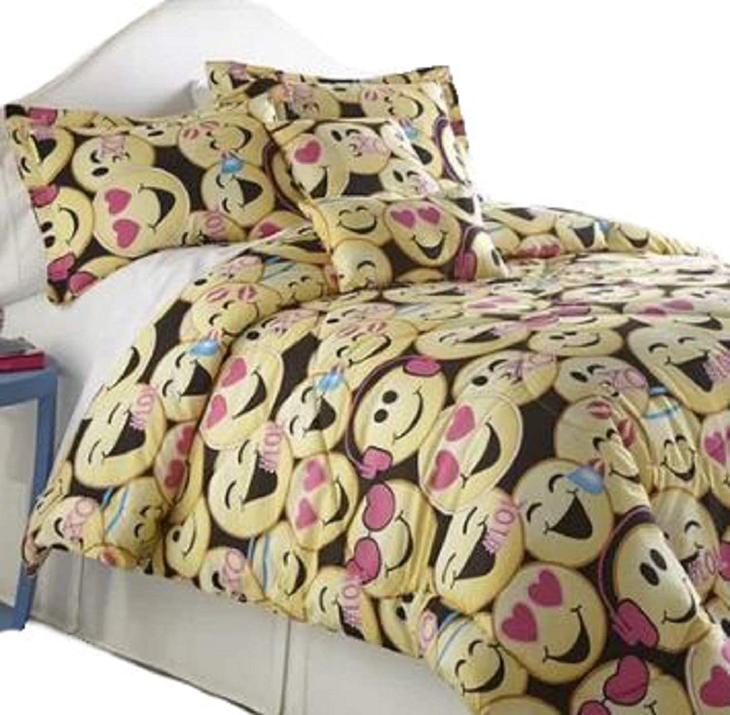 Printed Fashionable Comforter Bedding Set. Bamard Hypoallergenic 20'' W x 26'' L Emoji Printed Fashionable Comforter Bedding Set Pillow Shams Included with Wrinkle Resistant