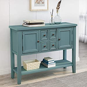 Merax Console Sofa Table Sideboard with Storage Drawers Cabinets and Bottom Shelf for Living Room, Kitchen, Entryway/Hallway, Blue