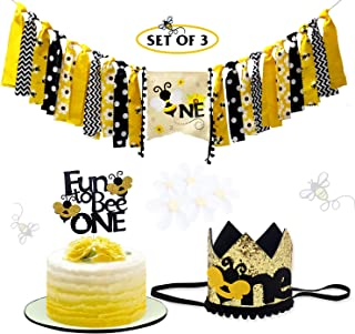 Bumble Bee First Birthday Party Decoration Kits, One Highchair Banner, Fun to Bee One Cake Topper and Crown Birthday Hat, set of 3