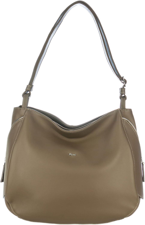 Bruno Rossi Italian Made Beige Calf Leather Side Zip Shoulder Bag
