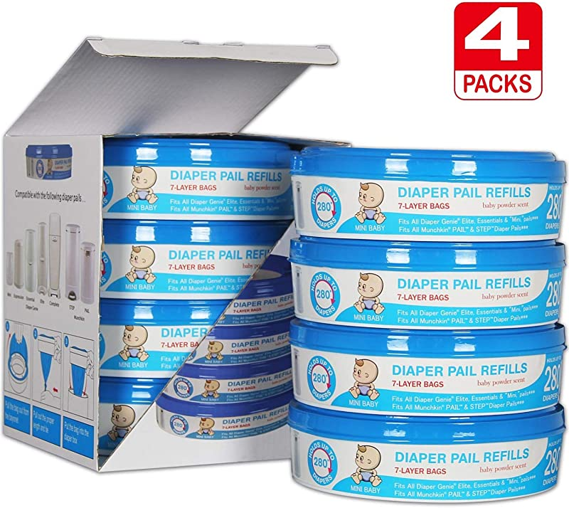 Upgraded Thicken 50 Diaper Genie Refill Bags Compatible With Diaper Genie Pails 4 6 Months Supply 1120 Count Pack Of 4 Save Money