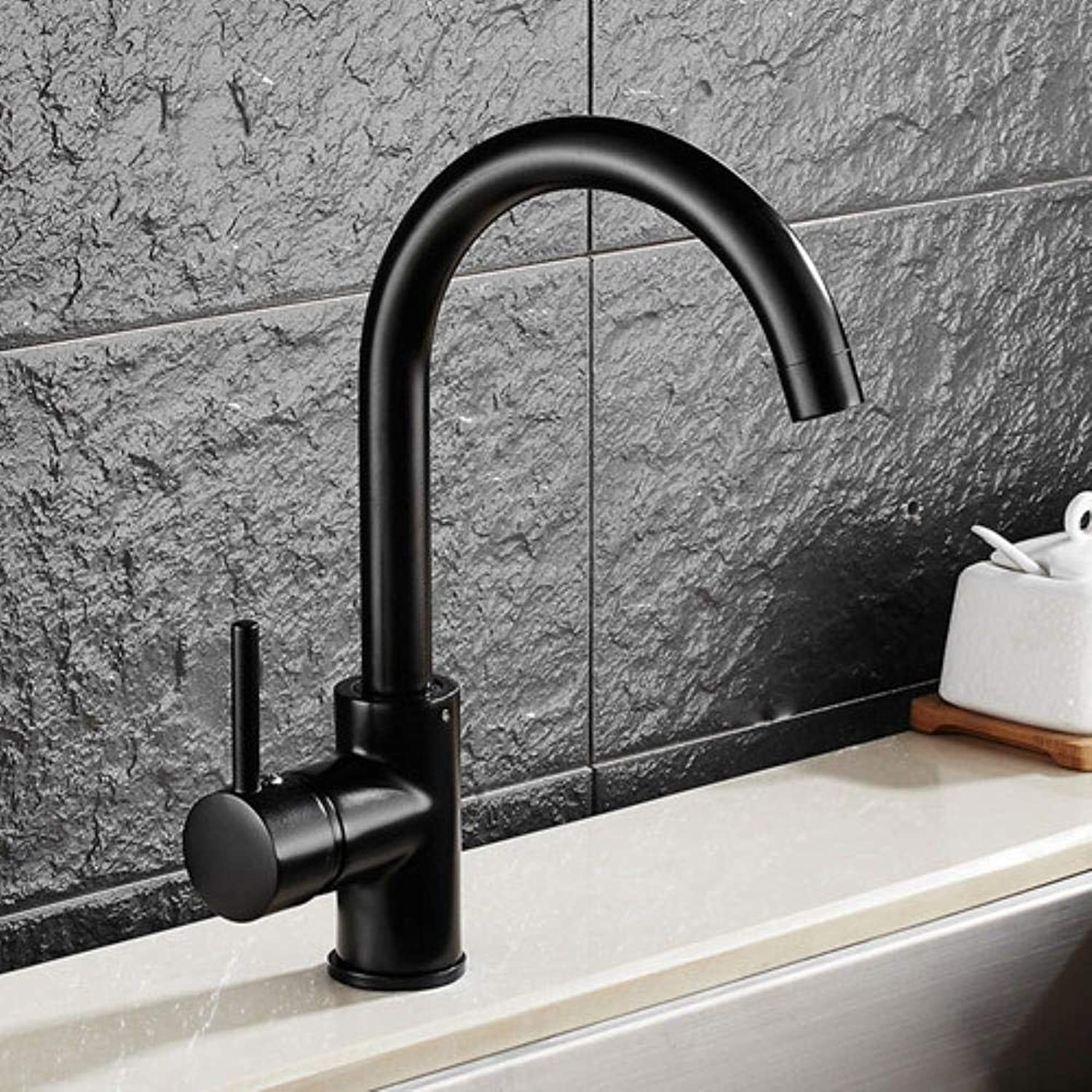 Kai&Guo Four Styles Chrome Brushed Kitchen Mixer Torneria Deck Mounted Black Kitchen Sink Water Faucet 8076 On, Black