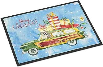 Caroline's Treasures Merry Christmas Schnauzer #2 Door Mat, CK2419MAT, Multicolor, 18H X 27W