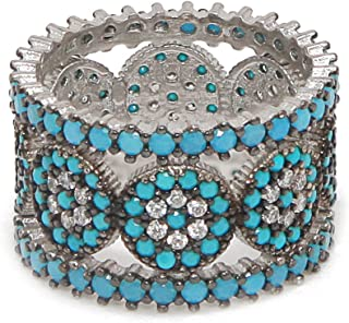 925 Sterling Silver Nano Turquoise and Cubic Zirconia CZ Full Eternity Ring Band Stackable 3 Rings Trio Ring Set (Size 5-11)